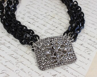 Valor & Vim- Antique French Victorian Steel Cut Buckle Necklace with Bakelite Chain- Silver, Black- Refashioned Vintage- One of a Kind