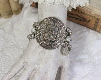 Legendary- San Marino Medallion Bracelet- Freshwater Pearls, White Agates, Antique Rhinestones- Silver/ Gray- Upcycled Vintage