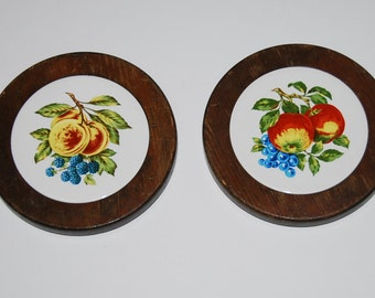 FT0155 Vintage Fruit Tile Trivets For Table or Wall