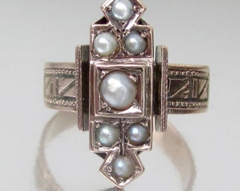 Antique Victorian Panel with Pearls Rose Gold Engagement Ring