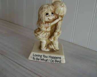 R W Berries Vintage Figurine Loving You Happens To Be What I Do Best / 1971 Vintage Statue by R & W Berries / Sweetheart Gift