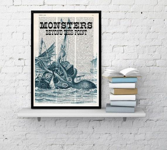 BOGO Sale Dictionary art print Monster Kraken sign Octopus Print Sea monster sign Octopus home decor Nursery wall Kraken SEA096