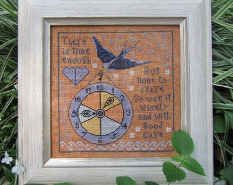 NEW Time Enough : Kathy Barrick counted cross stitch patterns embroidery The Cottage Needle