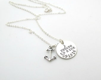 Refuse to Sink - Personalized Necklace - Anchor Necklace - Overcome - Strength - Personalized Jewelry - AA - Date - Recovery - Engraved
