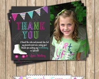 DIY Roller Skating Girl Birthday PRINTABLE Thank You Card  Chalkboard #1 pink  purple teal