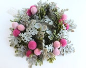 Candle Ring Wreath Plastic Dusty Miller Foliage and Flocked Pink Berries Fruit