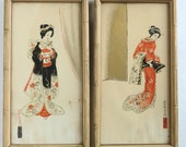 Asian Women Prints Wall Hangings with Faux Bamboo Frames Hollywood Regency Chinoiserie Style