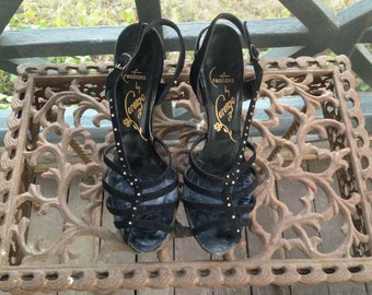 Vintage Shoes, Black Suede with Rhinestones & Metal Studs, FREE U.S. Shipping