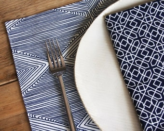 Cloth Napkins - Set of 4 Reversible Cloth - Choose from Grey or Navy