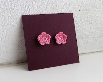 Crochet Tiny Flower Earrings Sterling Silver Post Stud Earrings Light Romantic Pink