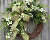 Wreath, Spring Wreath,Dogwood Spring Wreath, Wreath, Woodland Dogwood, Spring Door Wreaths, Fern and burlap, North Carolina, Etsy Wreath