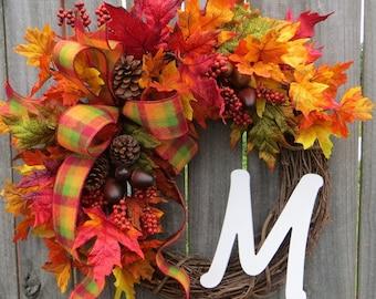 Fall Monogram Wreath, Grapevine Wreath for door, Wreath, Door Wreaths, Fall Wreath for door, Wreaths for front door
