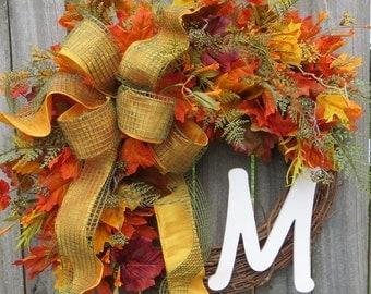 Fall Wreath, Fall Wreaths, Fall Fern, Monogram Wreath for Fall, Door Wreath for Fall, Door Decor for Fall, Fall Holiday Wreath