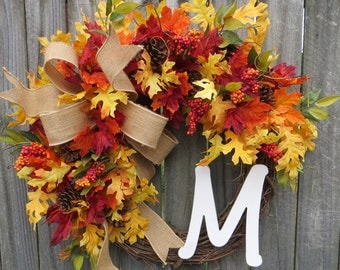 Fall Monogram Wreath, Grapevine Wreath for door, Wreath, Door Wreaths, Fall Wreath for door, Wreaths for front door