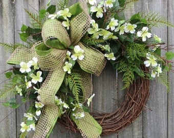 Wreath, Spring Wreath,Dogwood Spring Wreath, Wreath, Woodland Dogwood, Spring Door Wreaths, Fern and burlap, North Carolina, Etsy Wreath