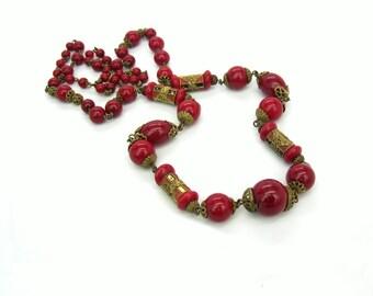 Art Deco Czech Necklace. Neiger Jewelry. Long Enamel & Glass Beads, Antique Gold Gilt Filigree. Vintage 1920s Art Deco Edwardian Jewelry.