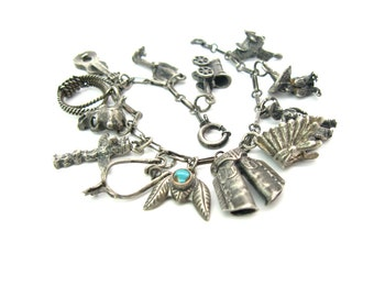 Theme Charm Bracelet. Cowboy & Indian. Sterling Silver. Thirteen 3D Charms, Turquoise Feather. Vintage 1940s Southwestern Jewelry Route 66