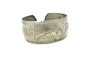 Art Deco Bracelet. Chicago Worlds Fair 1933 Century of Progress. Silver Plated Metal Souvenir Cuff. Vintage 1930s Art Deco Jewelry
