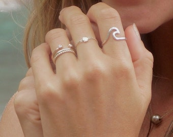 Wave Ring, Silver, Hammered, Handmade Hawaii Beach Jewelry, Surfer Girl Rings, Christmas Gift idea, Mermaid Accessory, Surf Ocean Fashion