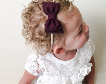 Plum Bow Headband - Dark Purple Bow Headband or Clip with Diagonal Tails - Eggplant Bow Headband - Deep Purple Baby Bow - Purple Bow Clip