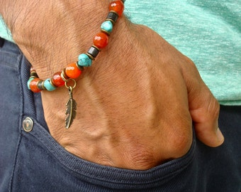 Men's Spiritual Healing Protection, Fortune Bracelet with Semi Precious Carnelians, Turquoise, Wood and Brass Feather - Native American Men