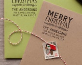 Christmas Return Address Stamp - Merry Christmas Self Inking Return Address Stamper or wood handled stamp Holiday Rubber Stamp for cards