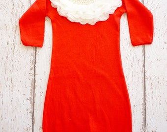 Newborn christmas baby girl outfit, Newborn gown, Infant gown, Going home outfit, Hospital outfit, christmas newborn, Christmas baby gown