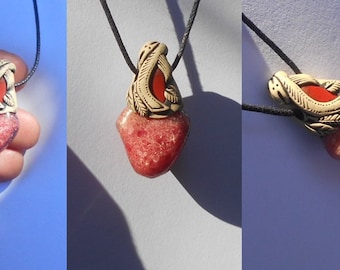 Gemmy Rhodonite Pendant with Jasper / bright pink / rhodonite jewelry / berry / pendant / EASE DURING CHANGE / khayanite / pink red