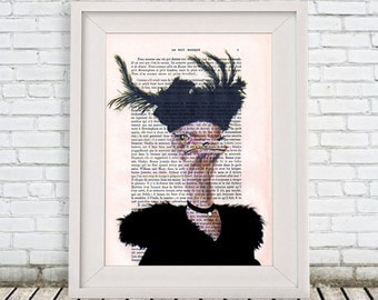 Hollywood Regency Ostrich Painting, Original Artwork, Feathers, Black, Acrylic Painting, Retro Ostrich, Marlène Dietrich, Wall Art Prints