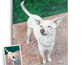 11x14 custom chihuahua portrait from photo hand painted dog painting on canvas art