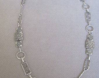 Antique Silver Filigree Squares and Rectangles with Circle and Oblong Metal Component Necklace