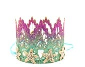 Mermaid Starfish    ombre magenta + seafoam    gold starfish    mini lace crown headband   photo prop