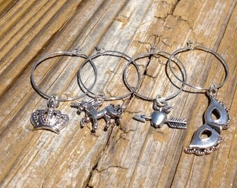 Fairytale Wine Charms, Whimsical Wine Charms, Silver Wine Charms,