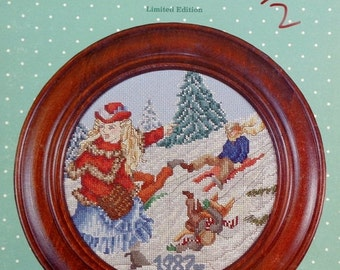 Cross My Heart Cross Stitch Pattern THE COASTING Hill Limited Edition Christmas Plate Designs by Melinda