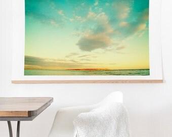 Island Love ready-to-hang oversized wall art print, turquoise skies beach resort fine art photography home decor, housewarming gift new home