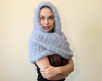 HOODED SCARF Extra Long Mohair Infinity Scarf with Hood in blue grey handknit Body Wrap Scarf by Solandia knitting women fashion luxury gift