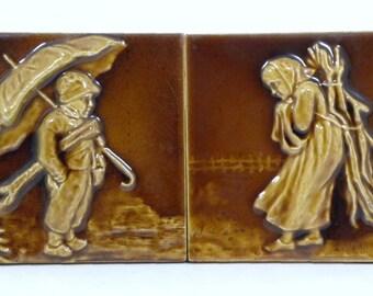 RARE Pr. U.S. Encaustic Tile Co-Majolica-Indianapolis-6x6-1930s-Brown