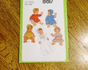"""1970's VINTAGE Clothing WARDROBE for (17"""" - 18"""") Baby Dolls - Variety of Dresses, Hats + Clothes - UNCUT Sewing Pattern Simplicity 8817"""