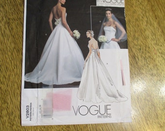 ELEGANT Fit and Flare Wedding Gown - Elegant A-Line Dress - Size (12 - 14 - 16) - UNCUT Sewing Pattern Vogue 2803