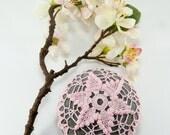 Crochet stone, crochet rock, star, beach wedding, ring bearer pillow, home decor, pink rose quartz colored thread, bowl element, paperweight