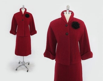 Vintage 50's Deep Candy Apple Red Nubby Suit Skirt Jacket Set S
