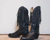 8 M | Chippewa - Harley Davidson Women's Black Leather Fringe Western Motorcycle Boots
