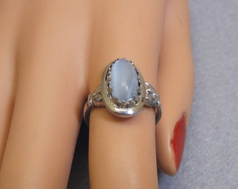 Vintage Sterling Gray Blue Cats Eye Glass Ring  Size 7