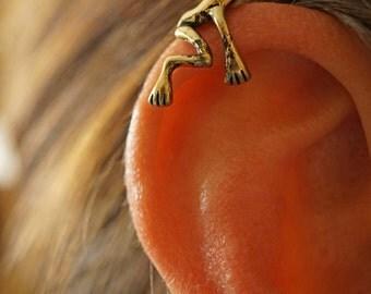 Gold Tree Frog Ear Cuff Jacket No Piercing Non Pierced