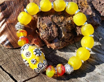 Beaded Bracelet in Mellow Yellow