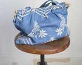 1930s  Cornflower blue embroidered handbag