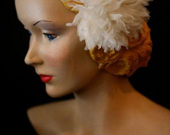 Pale ivory Silk Organza chrysanthemum  flower comb/pin