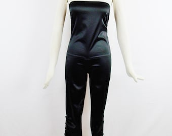 GIANFRANCO FERRE JUMPSUIT Wth Ruching Halter Tuxedo Evening Jumper with Tags Deadstock Sz 40