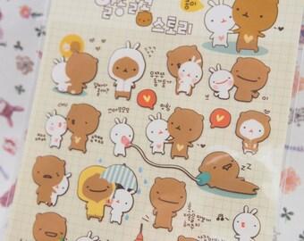 Funny Rabbit & Bear Deco Sticker (1 Sheet)