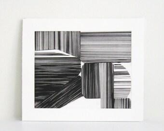 "Etching Print . Geometric Art . Black/White :""Align"". Print Size 12"" x 14"". Unframed"